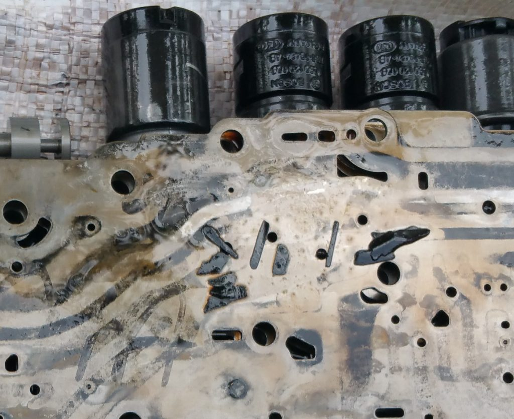 Pieces of gasket as it was at removal